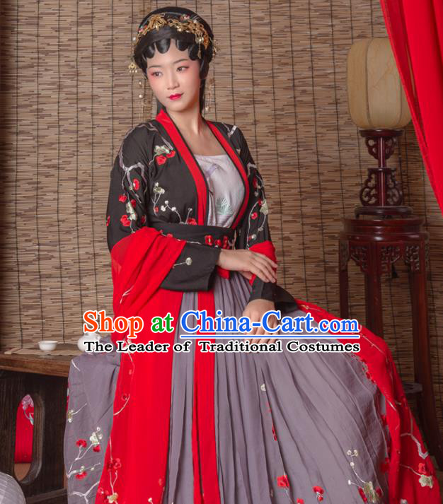 Asian China Tang Dynasty Imperial Consort Costume Complete Set, Traditional Ancient Chinese Imperial Princess Hanfu Embroidered Clothing for Women
