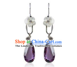 Traditional Korean Accessories Purple Crystal Earrings, Asian Korean Fashion Wedding Tassel Eardrop for Women