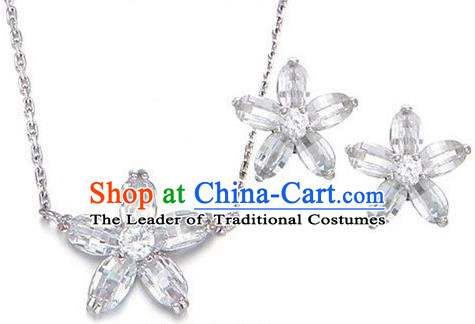 Traditional Korean Accessories Crystal Necklace and Earrings, Asian Korean Fashion Wedding Jewelry for Women