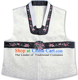Traditional Korean Handmade Hanbok Embroidered White Vest, Asian Korean Apparel Hanbok Embroidery Bridegroom Waistcoat for Men