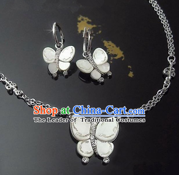 Traditional Korean Accessories Asian Korean Fashion Wedding Shell Butterfly Necklace and Earrings Complete Set for Women