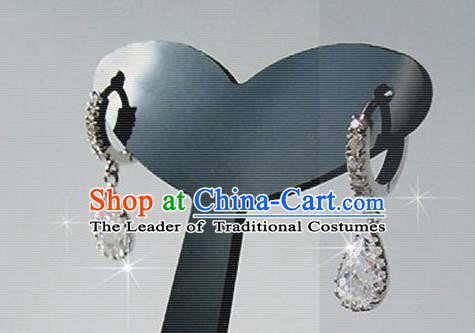 Traditional Korean Accessories Asian Korean Fashion Wedding Crystal Earrings for Women