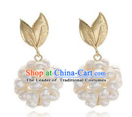Traditional Korean Accessories Bride Pearls Earrings, Asian Korean Fashion Wedding Eardrop for Kids