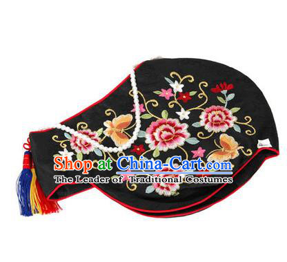 Traditional Korean Hair Accessories Embroidered Black Hats, Asian Korean Fashion Headwear Wedding Headband for Kids