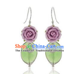 Traditional Korean Accessories Flowers Earrings, Asian Korean Fashion Wedding Tassel Eardrop for Women
