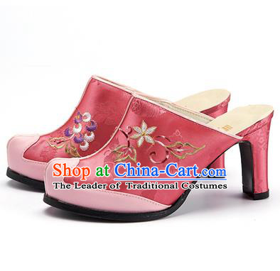 Traditional Korean National Wedding Pink Embroidered Shoes, Asian Korean Hanbok Bride High-heeled Shoes for Women