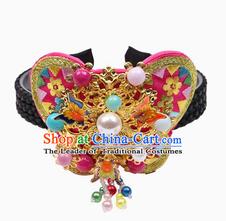 Traditional Korean Hair Accessories Pearls Butterfly Hair Clasp, Asian Korean Fashion Wedding Headwear for Kids
