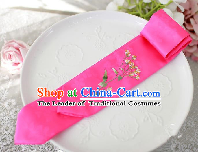 Traditional Korean Hair Accessories Embroidered Rosy Hair Ribbon, Asian Korean Fashion Wedding Headband for Kids