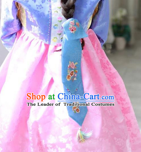 Traditional Korean Hair Accessories Embroidered Blue Hair Ribbon, Asian Korean Fashion Wedding Headband for Kids