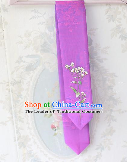 Traditional Korean Hair Accessories Embroidered Purple Hair Ribbon, Asian Korean Fashion Wedding Headband for Kids