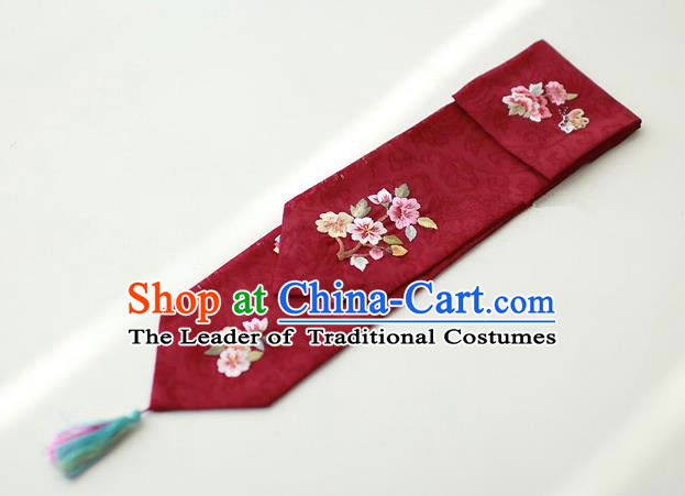 Traditional Korean Hair Accessories Embroidered Dark Red Hair Ribbon, Asian Korean Fashion Wedding Headband for Kids