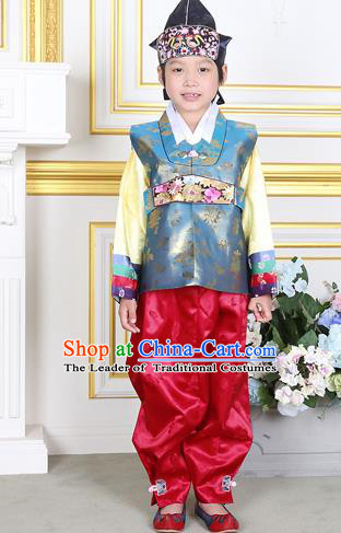 Traditional Korean National Handmade Court Embroidered Blue Costume, Asian Korean Boys Hanbok Clothing for Kids