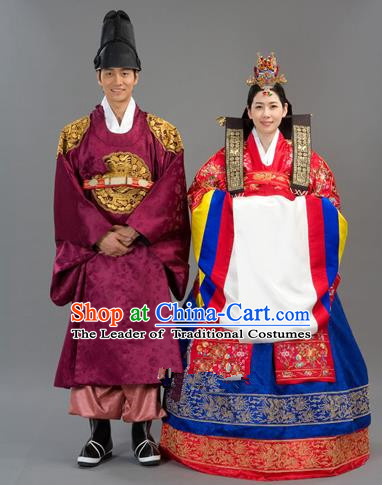 Traditional Korean National Handmade Court Embroidered Wedding Clothing, Asian Korean Bride Red Dress Costume for Women