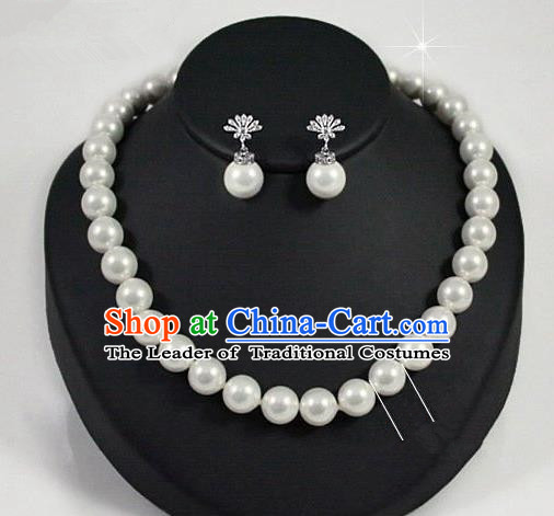 Traditional Korean Accessories Crystal Pearls and Earrings, Asian Korean Fashion Wedding Jewelry for Women
