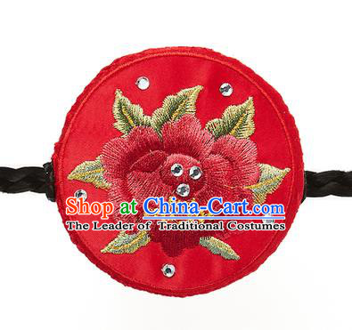 Traditional Korean Hair Accessories Embroidered Red Round Hair Clasp, Asian Korean Fashion Wedding Headband for Kids