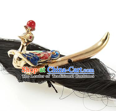 Traditional Korean Hair Accessories Bride Hair Claw, Asian Korean Fashion Wedding Golden Hair Decorations for Kids