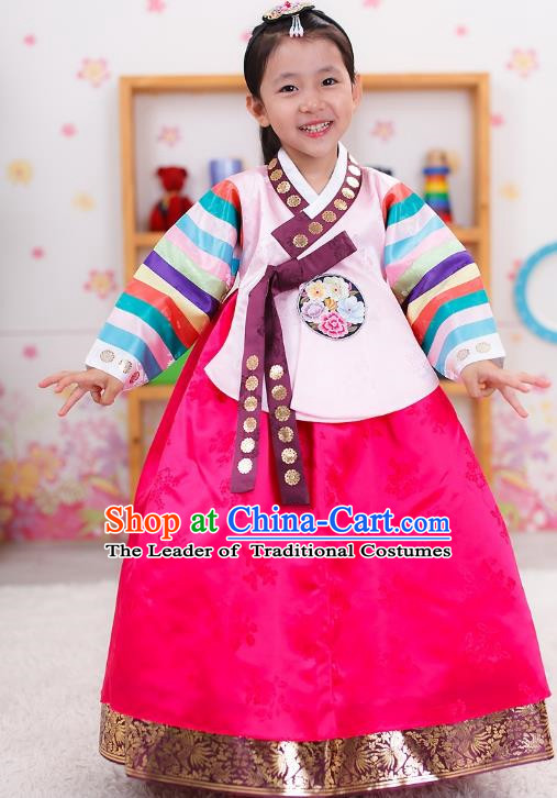 Traditional Korean Handmade Formal Occasions Embroidered Girls Wedding Costume Palace Hanbok Dress Clothing for Kids