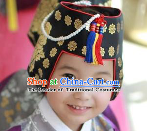 Traditional Korean Hair Accessories Embroidered Gilding Hats, Asian Korean Fashion Children Wedding Headwear for Girls