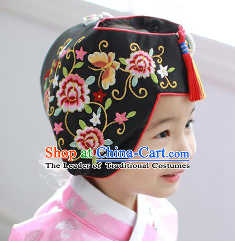 Traditional Korean Hair Accessories Bride Black Embroidered Hats, Asian Korean Fashion Wedding Tassel Headwear for Kids