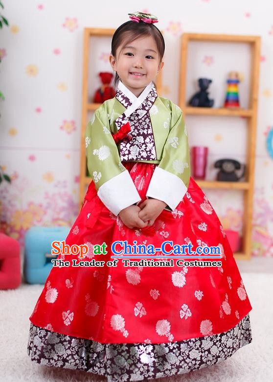 Traditional Korean Handmade Formal Occasions Embroidered Palace Princess Hanbok Red Dress Clothing for Girls
