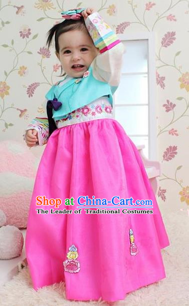 Traditional Korean Handmade Embroidered Formal Occasions Costume, Asian Korean Apparel Hanbok Pink Dress Clothing for Girls