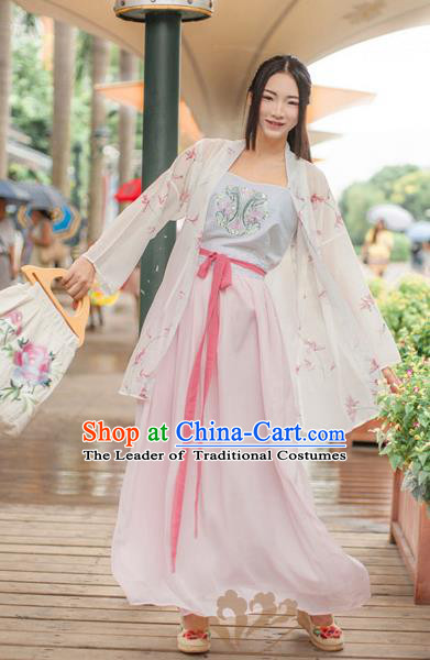 Asian China Song Dynasty Young Lady Embroidered Costume, Traditional Ancient Chinese Hanfu Blouse and Skirt Clothing for Women