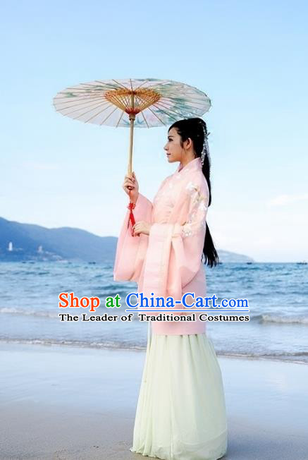 Asian China Han Dynasty Palace Lady Embroidered Costume, Traditional Chinese Ancient Hanfu Curve Bottom Princess Clothing for Women