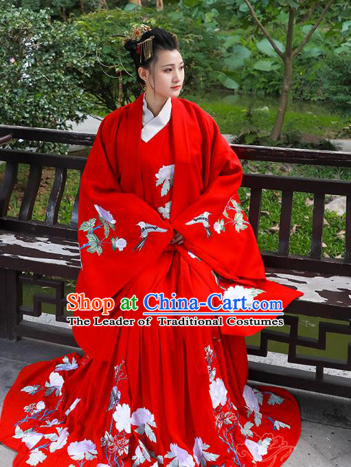 Asian China Han Dynasty Palace Lady Wedding Costume Red Embroidered Cloak, Traditional Chinese Ancient Hanfu Cape Clothing for Women