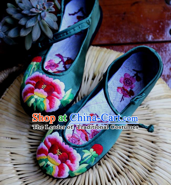 Traditional Chinese Ancient Princess Shoes Atrovirens Embroidered Boots, China Handmade Embroidery Peony Hanfu Shoes for Women