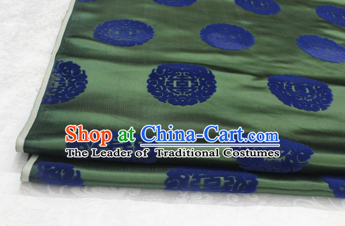Chinese Traditional Royal Palace Longevity Pattern Deep Green Brocade Mongolian Robe Fabric, Chinese Ancient Costume Satin Hanfu Tang Suit Material