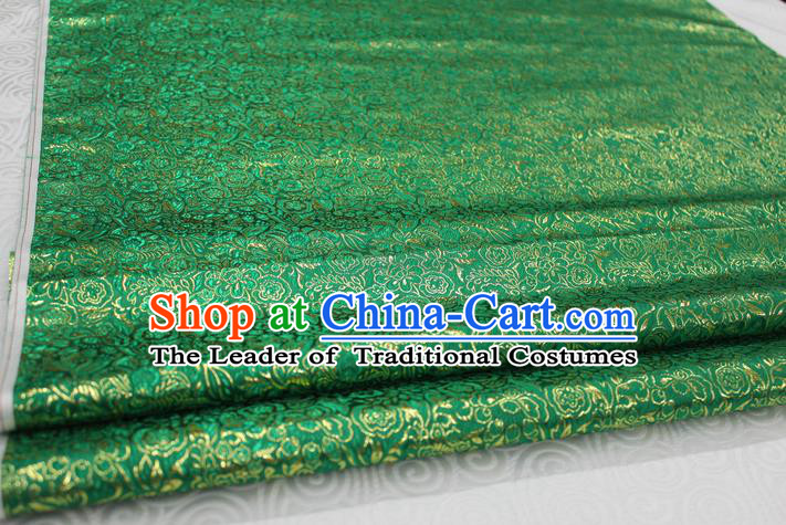 Chinese Traditional Royal Palace Pattern Cheongsam Green Brocade Fabric, Chinese Ancient Costume Satin Hanfu Material