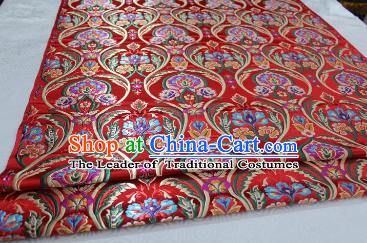 Chinese Traditional Royal Palace Flowers Pattern Red Nanjing Brocade Mongolian Robe Fabric, Chinese Ancient Costume Satin Hanfu Tang Suit Material