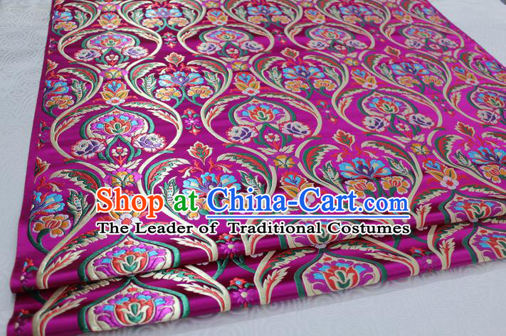 Chinese Traditional Royal Palace Flowers Pattern Rosy Nanjing Brocade Mongolian Robe Fabric, Chinese Ancient Costume Satin Hanfu Tang Suit Material