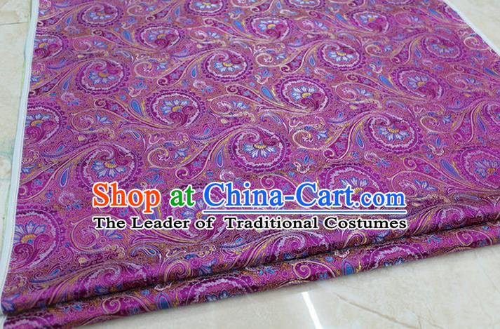 Chinese Traditional Ancient Costume Palace Pteris Pattern Mongolian Robe Rosy Brocade Tang Suit Fabric Hanfu Material