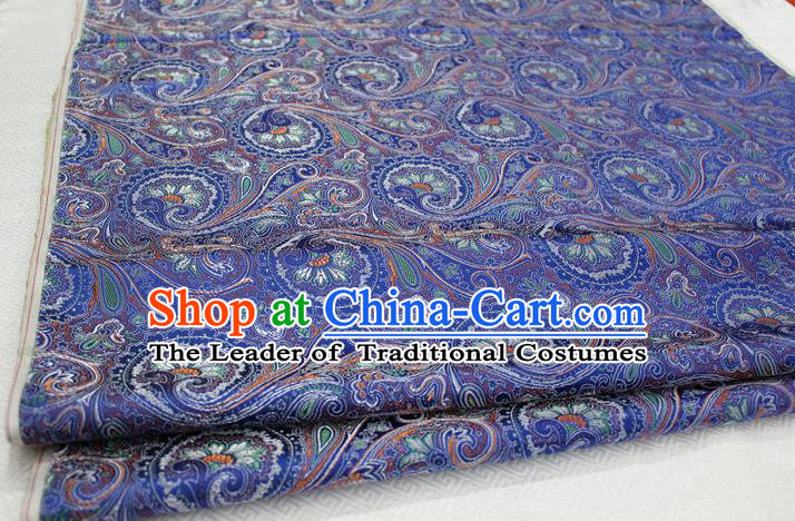 Chinese Traditional Ancient Costume Palace Pteris Pattern Mongolian Robe Royalblue Brocade Tang Suit Fabric Hanfu Material
