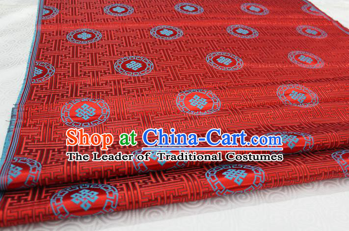 Chinese Traditional Ancient Costume Palace Pattern Mongolian Robe Red Brocade Tang Suit Fabric Hanfu Material