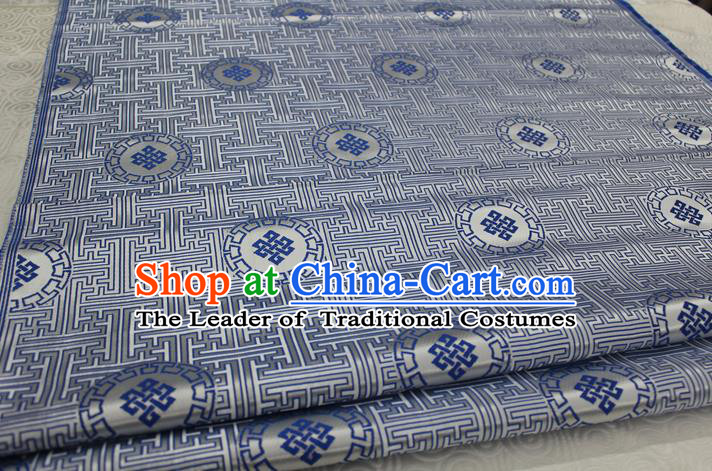 Chinese Traditional Ancient Costume Palace Blue Pattern Mongolian Robe White Brocade Tang Suit Fabric Hanfu Material