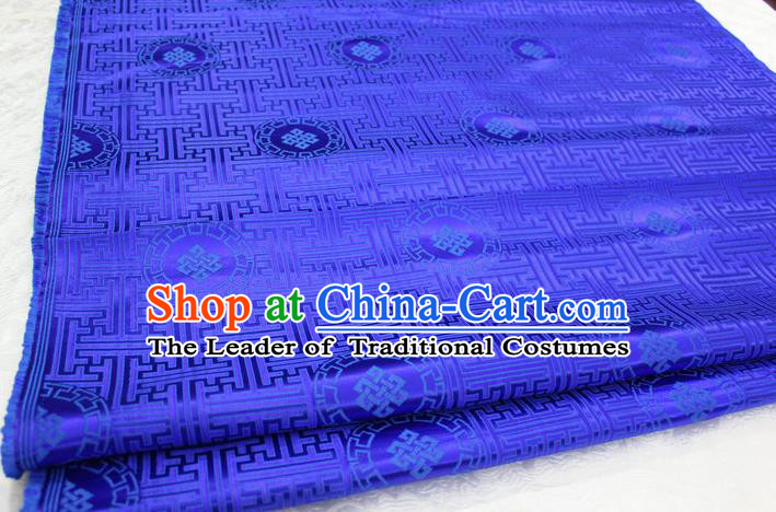 Chinese Traditional Ancient Costume Palace Pattern Mongolian Robe Royalblue Brocade Tang Suit Fabric Hanfu Material