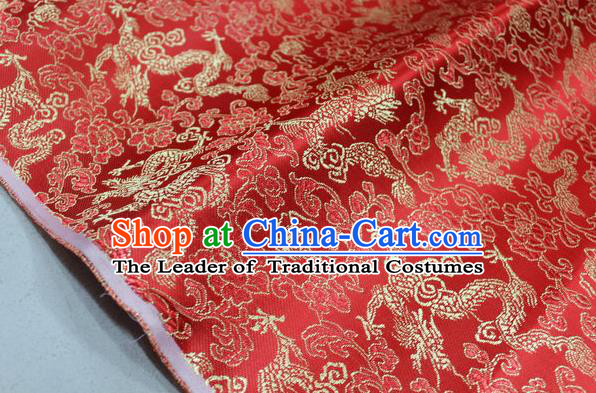 Chinese Traditional Ancient Costume Palace Dragons Pattern Mongolian Robe Red Brocade Tang Suit Fabric Hanfu Material