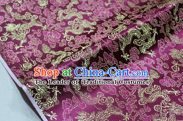 Chinese Traditional Ancient Costume Palace Dragons Pattern Mongolian Robe Purple Brocade Tang Suit Fabric Hanfu Material
