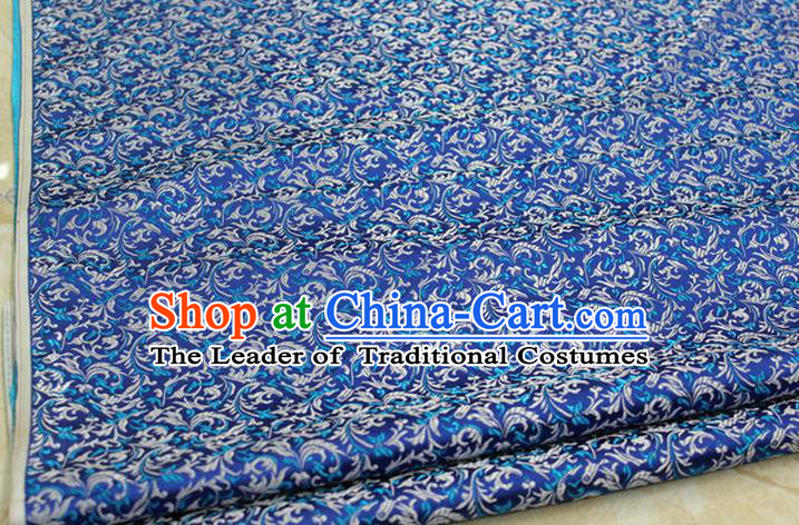 Chinese Traditional Palace Pattern Tang Suit Cheongsam Blue Brocade Fabric, Chinese Ancient Costume Hanfu Satin Material