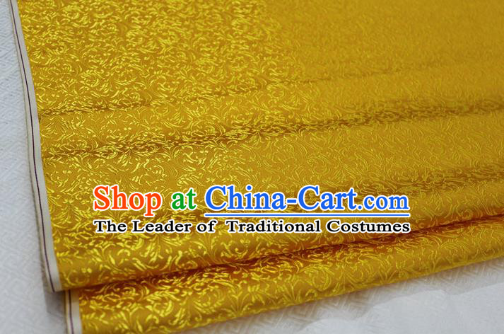 Chinese Traditional Palace Pattern Tang Suit Cheongsam Golden Brocade Fabric, Chinese Ancient Costume Hanfu Satin Material