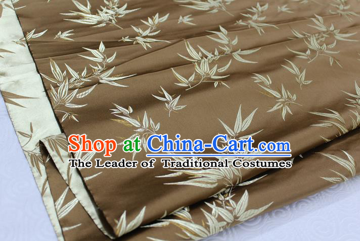 Chinese Traditional Palace Bamboo Pattern Tang Suit Cheongsam Bronze Brocade Fabric, Chinese Ancient Costume Hanfu Material