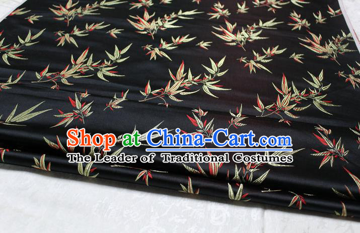 Chinese Traditional Palace Bamboo Pattern Tang Suit Cheongsam Black Brocade Fabric, Chinese Ancient Costume Hanfu Material