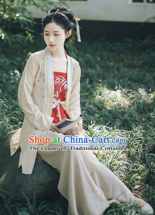Traditional Chinese Song Dynasty Young Lady Costume Ancient Hanfu Embroidered Blouse and Pants Complete Set for Women