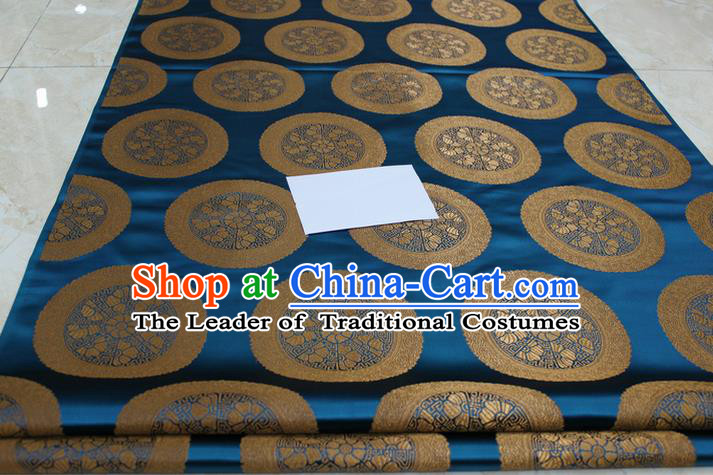 Chinese Traditional Ancient Costume Palace Pattern Mongolian Robe Peacock Blue Brocade Tang Suit Fabric Hanfu Material