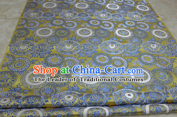 Chinese Traditional Ancient Costume Palace Peony Pattern Mongolian Robe Green Brocade Tang Suit Fabric Hanfu Material