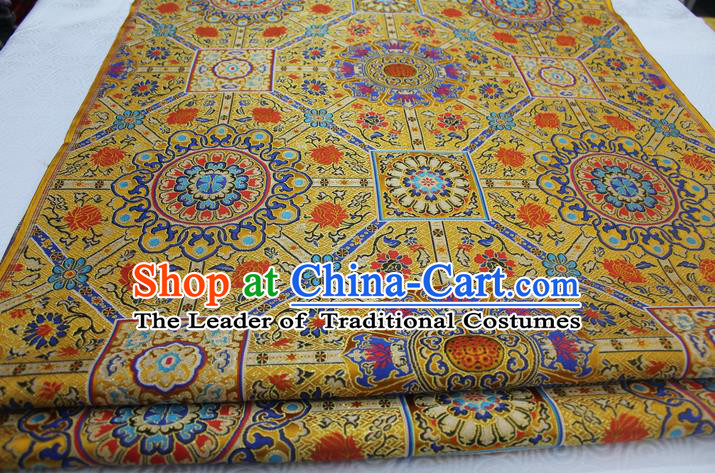Chinese Traditional Ancient Costume Palace Pattern Mongolian Robe Yellow Brocade Tang Suit Fabric Hanfu Material
