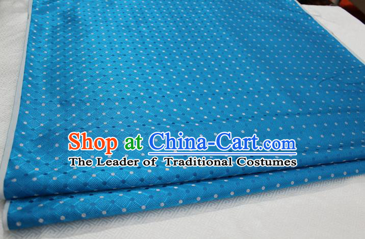 Chinese Traditional Ancient Costume Palace Pattern Mongolian Robe Cheongsam Blue Brocade Tang Suit Fabric Hanfu Material