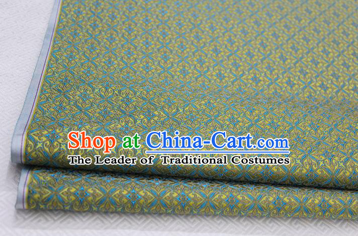 Chinese Traditional Ancient Costume Palace Pattern Cheongsam Yellow Brocade Tang Suit Fabric Hanfu Material